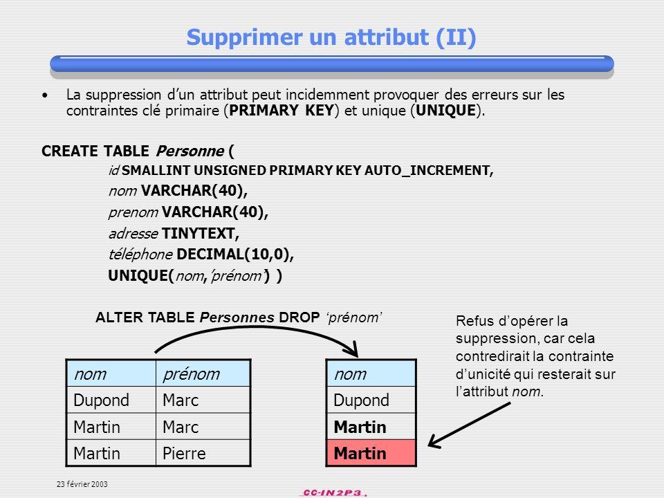 Supprimer un attribut (II)