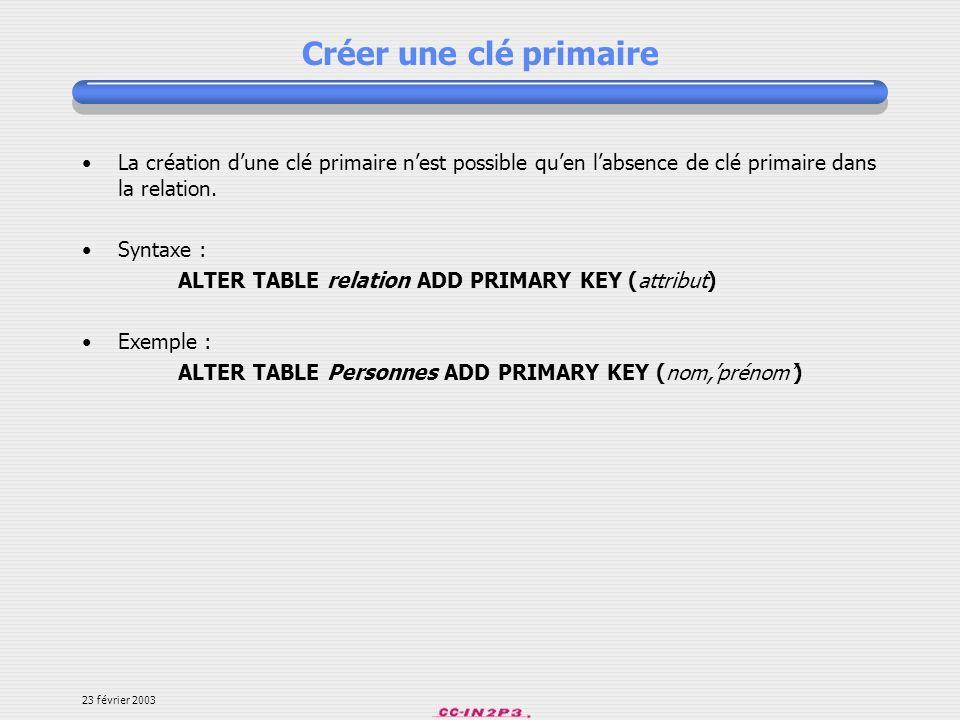 Créer une clé primaireLa création d'une clé primaire n'est possible qu'en l'absence de clé primaire dans la relation.