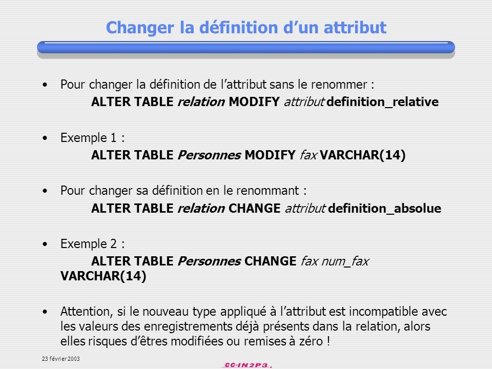 Changer la définition d'un attribut