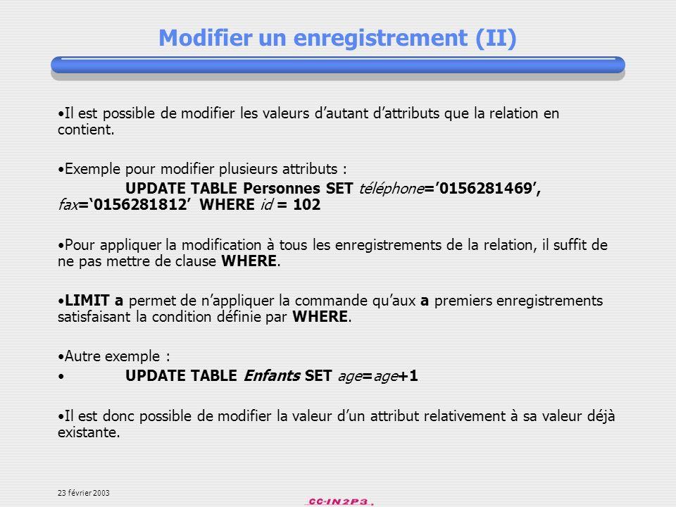 Modifier un enregistrement (II)