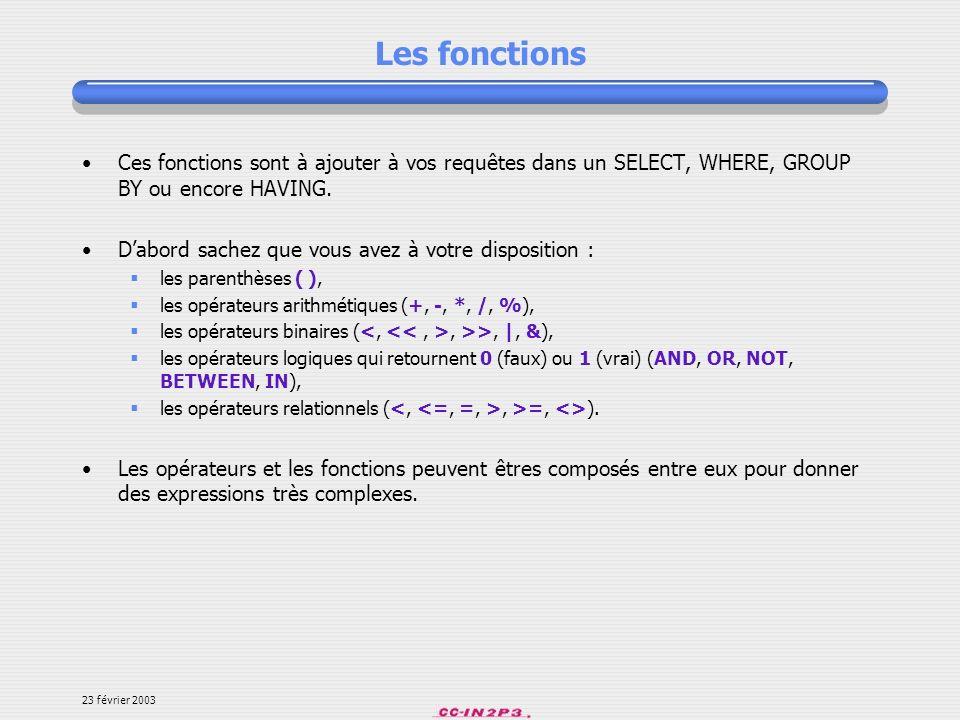 Les fonctions Ces fonctions sont à ajouter à vos requêtes dans un SELECT, WHERE, GROUP BY ou encore HAVING.