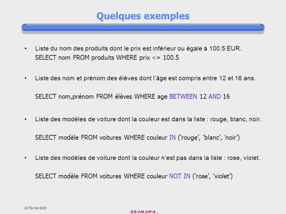 Quelques exemples Liste du nom des produits dont le prix est inférieur ou égale à 100.5 EUR. SELECT nom FROM produits WHERE prix <= 100.5.