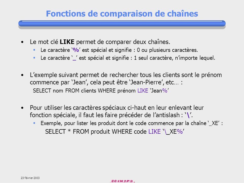 Fonctions de comparaison de chaînes