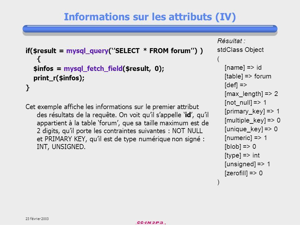 Informations sur les attributs (IV)