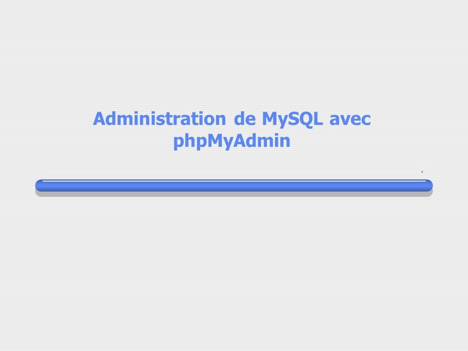 Administration de MySQL avec phpMyAdmin