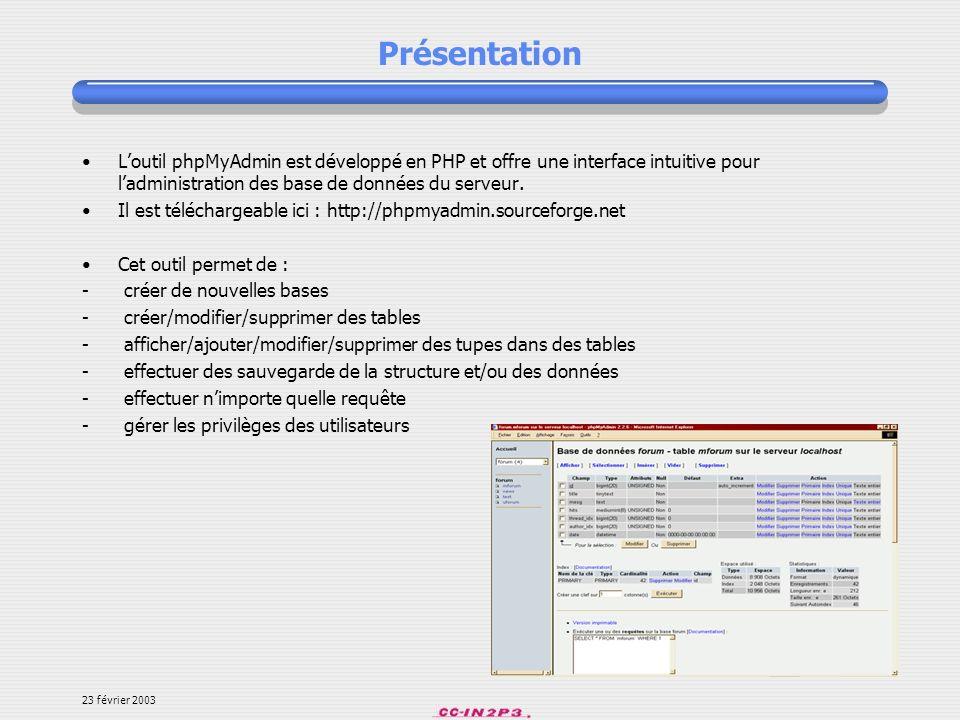 Présentation L'outil phpMyAdmin est développé en PHP et offre une interface intuitive pour l'administration des base de données du serveur.