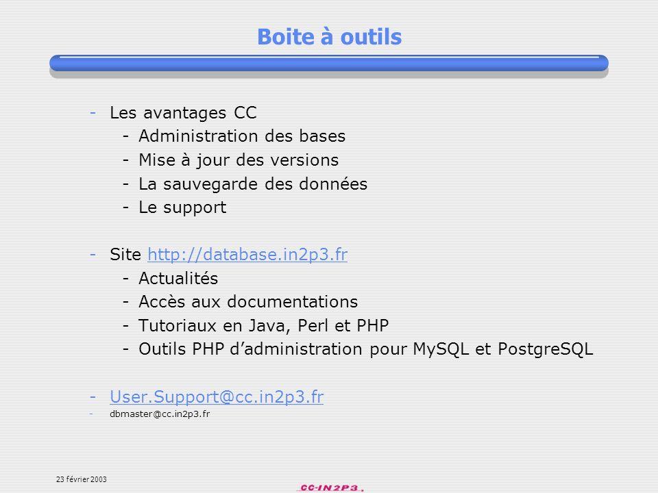 Boite à outils Les avantages CC Administration des bases