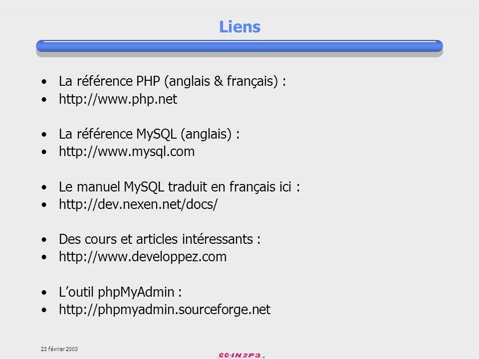 Liens La référence PHP (anglais & français) : http://www.php.net