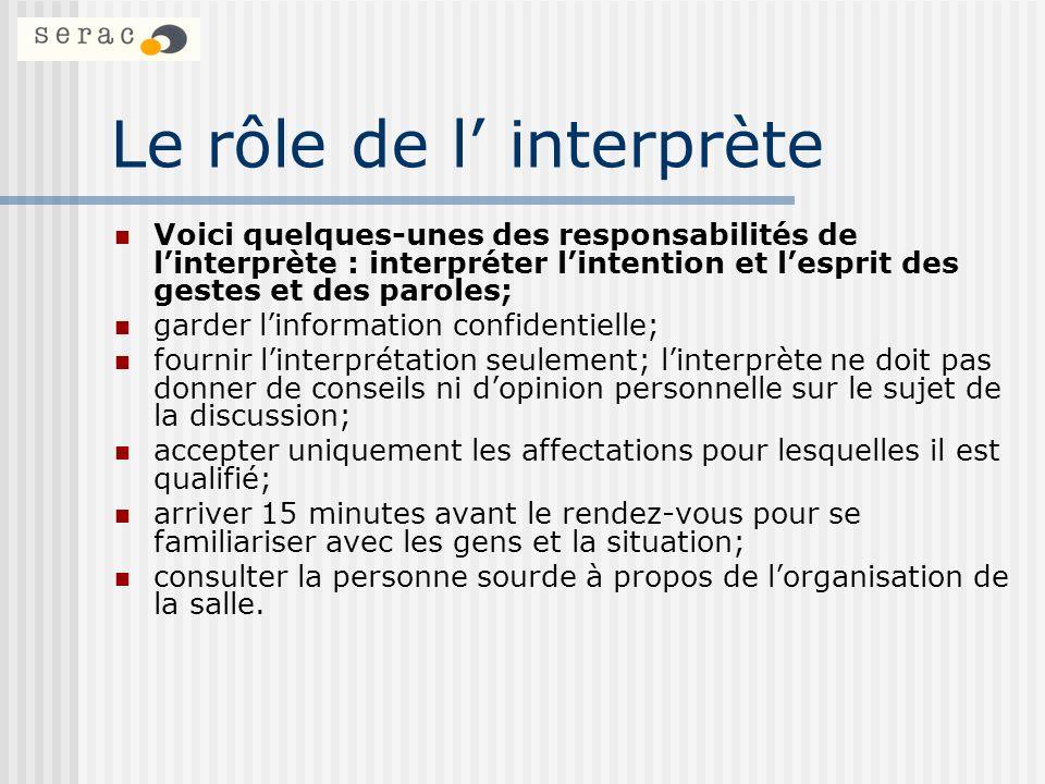 Le rôle de l' interprète