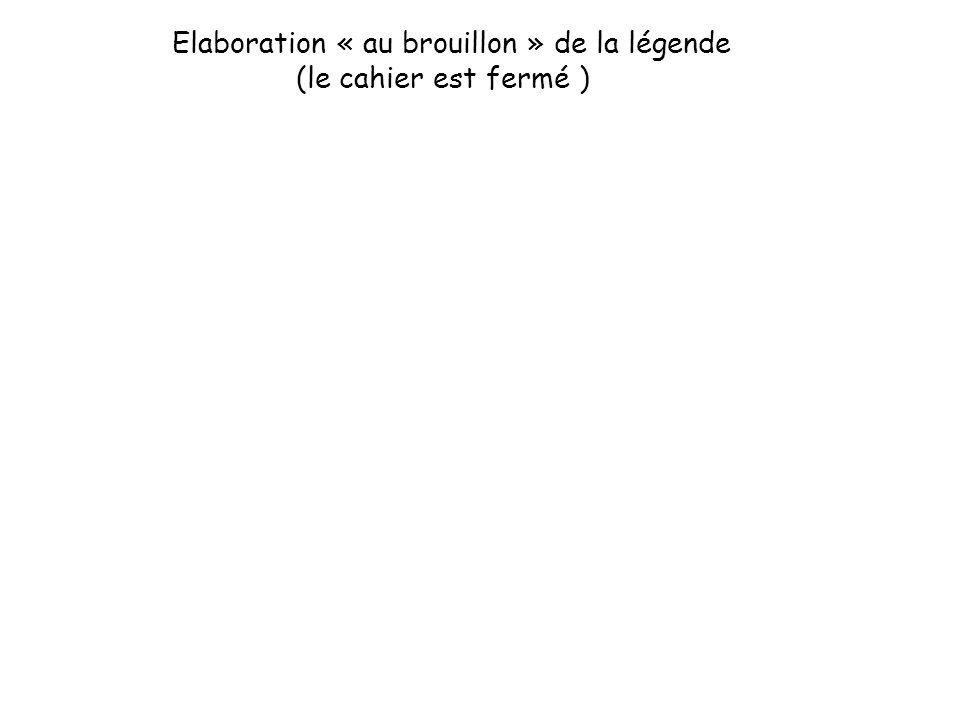 Elaboration « au brouillon » de la légende (le cahier est fermé )