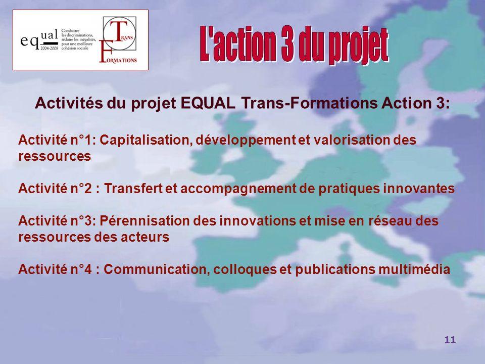 Activités du projet EQUAL Trans-Formations Action 3: