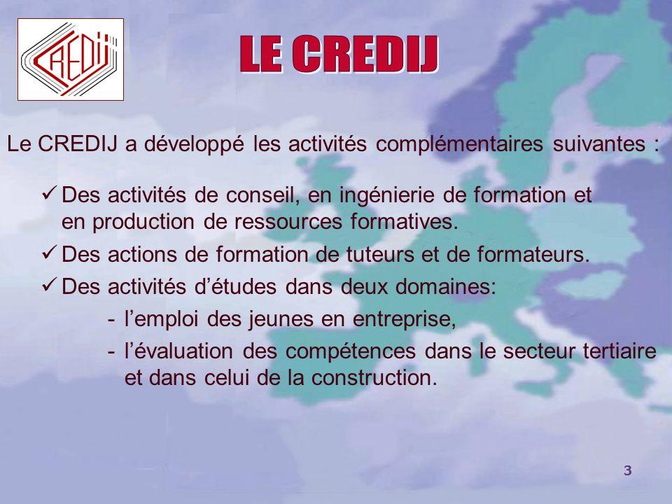 LE CREDIJLe CREDIJ a développé les activités complémentaires suivantes :