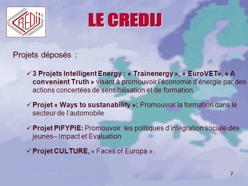LE CREDIJ Projets déposés :