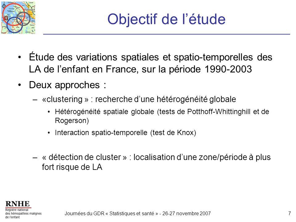 Objectif de l'étude Étude des variations spatiales et spatio-temporelles des LA de l'enfant en France, sur la période 1990-2003.