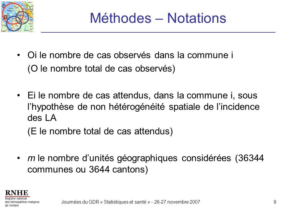 Méthodes – Notations Oi le nombre de cas observés dans la commune i