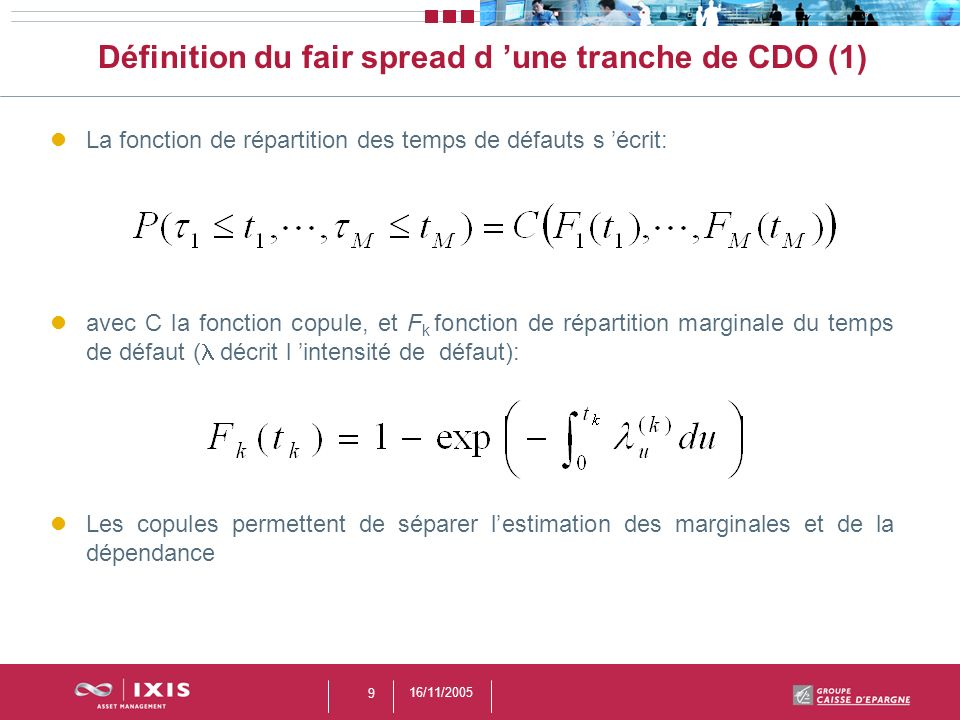 Définition du fair spread d 'une tranche de CDO (1)