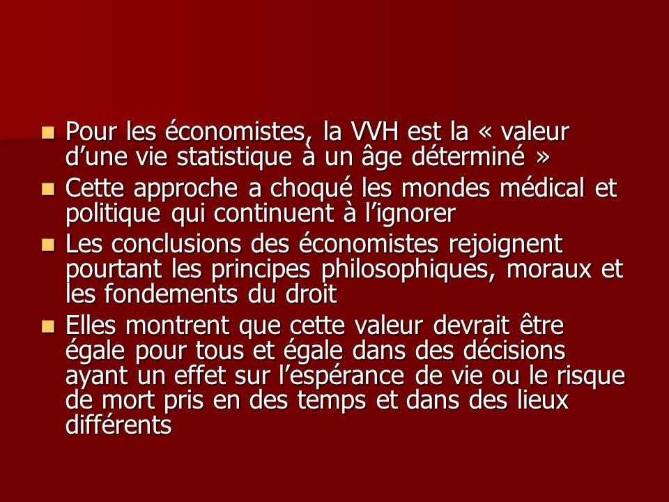 Pour les économistes, la VVH est la « valeur d'une vie statistique à un âge déterminé »