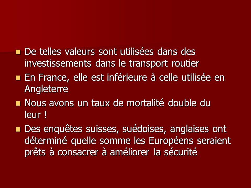 De telles valeurs sont utilisées dans des investissements dans le transport routier
