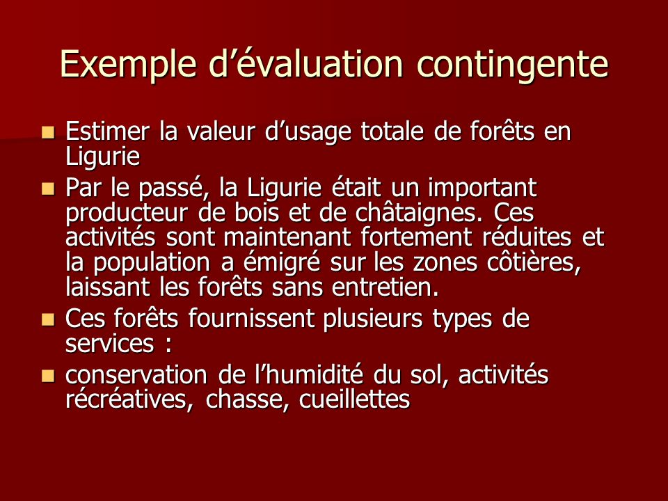 Exemple d'évaluation contingente