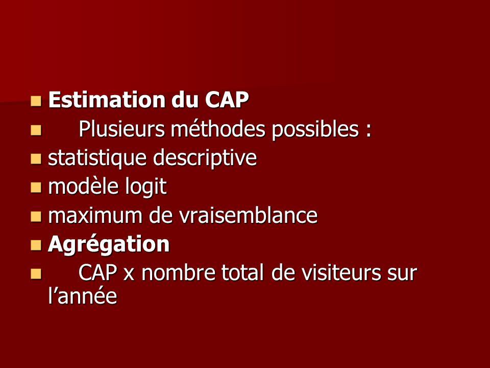 Estimation du CAP Plusieurs méthodes possibles : statistique descriptive. modèle logit. maximum de vraisemblance