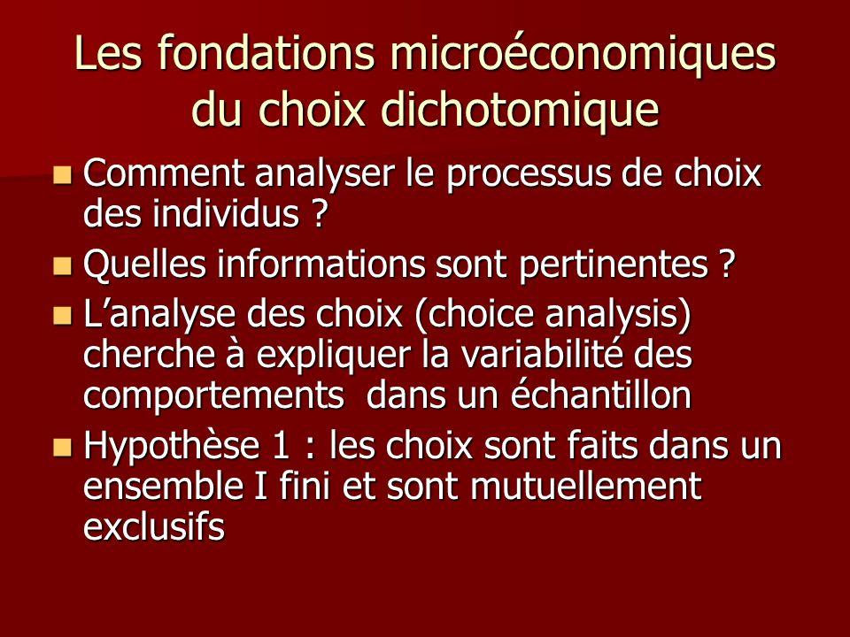 Les fondations microéconomiques du choix dichotomique