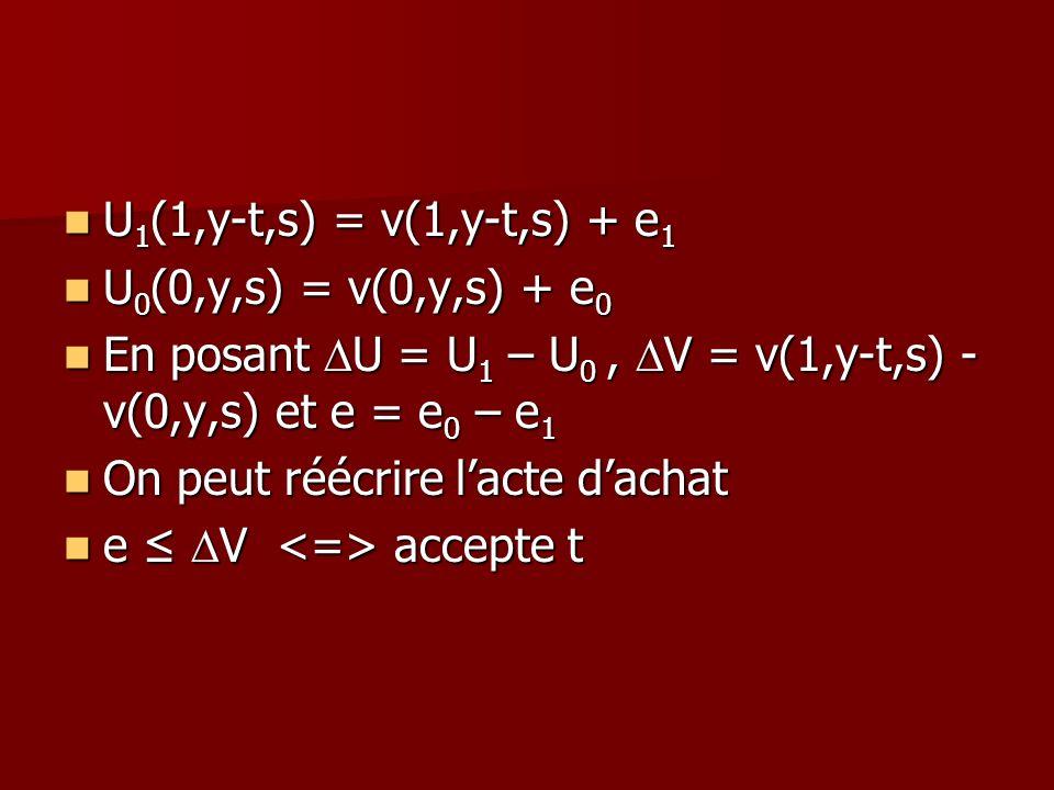 U1(1,y-t,s) = v(1,y-t,s) + e1U0(0,y,s) = v(0,y,s) + e0. En posant DU = U1 – U0 , DV = v(1,y-t,s) - v(0,y,s) et e = e0 – e1.