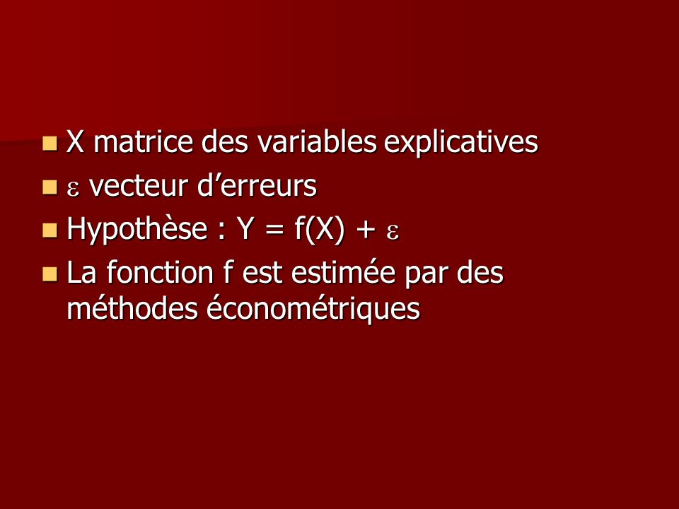 X matrice des variables explicatives