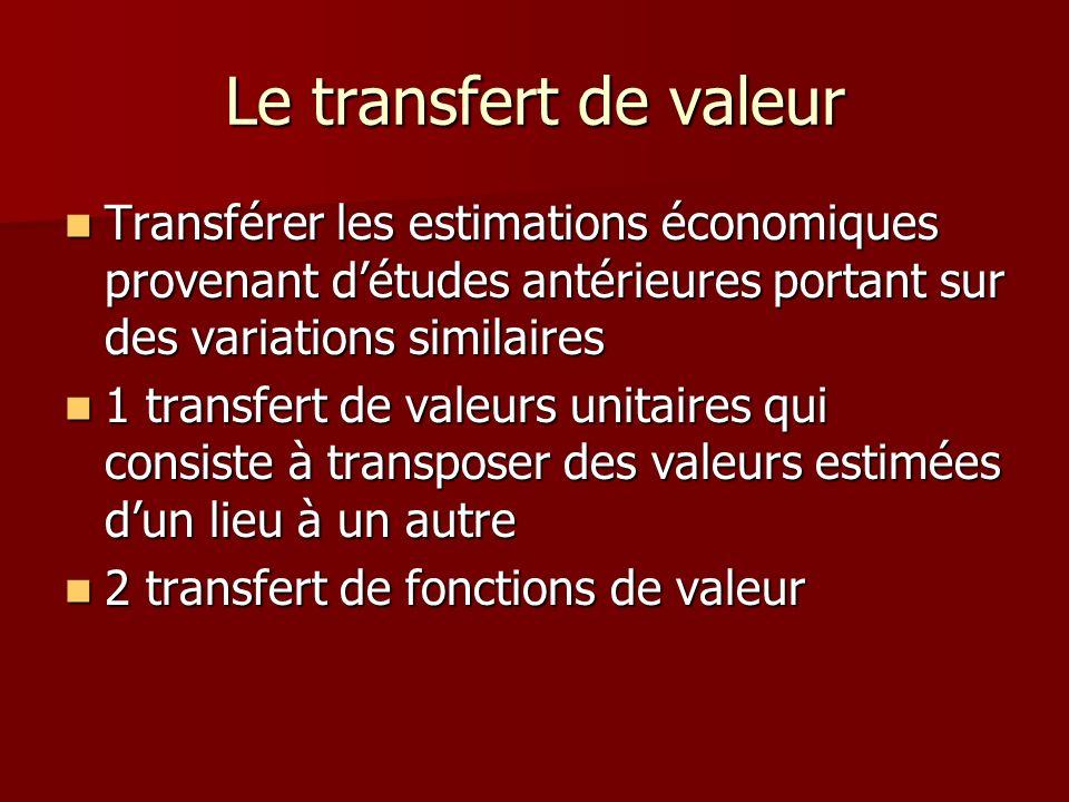 Le transfert de valeur Transférer les estimations économiques provenant d'études antérieures portant sur des variations similaires.