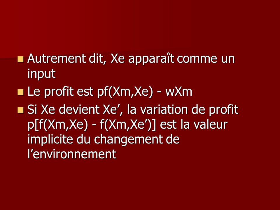 Autrement dit, Xe apparaît comme un input