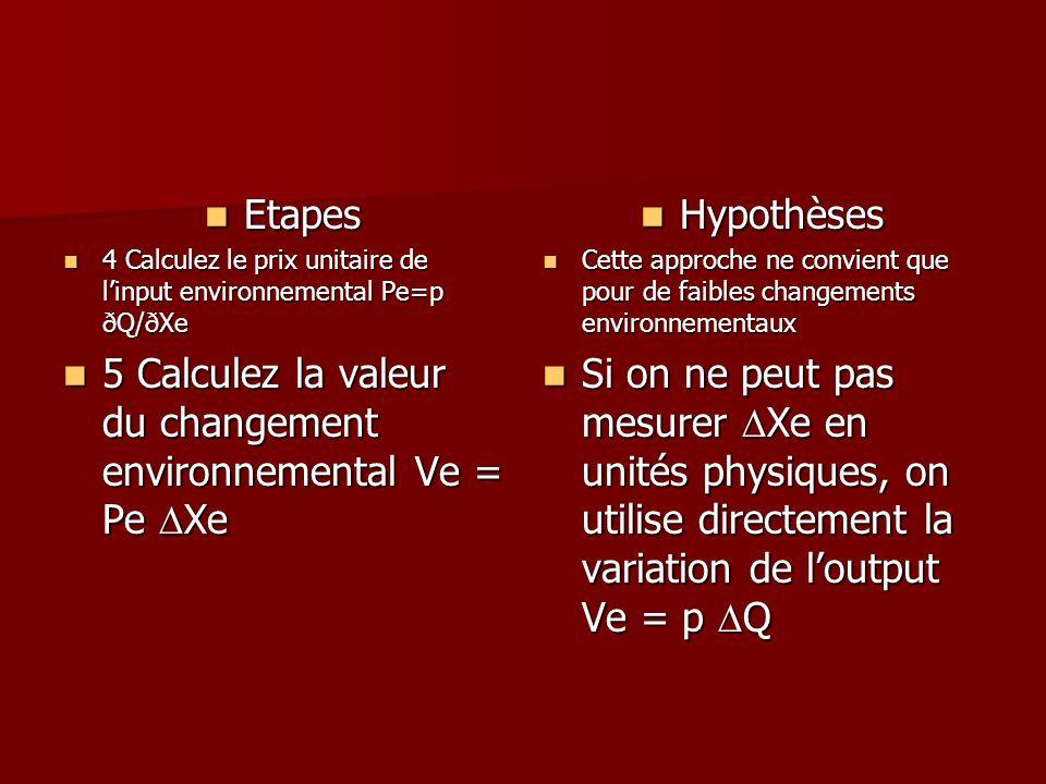 5 Calculez la valeur du changement environnemental Ve = Pe DXe