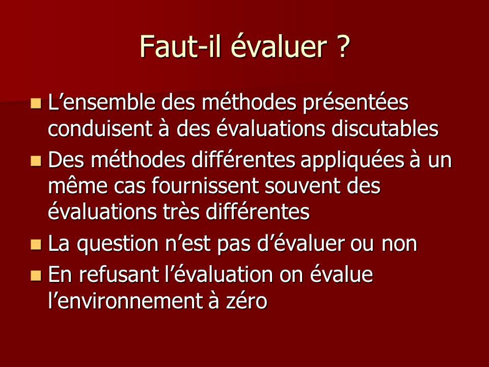 Faut-il évaluer L'ensemble des méthodes présentées conduisent à des évaluations discutables.