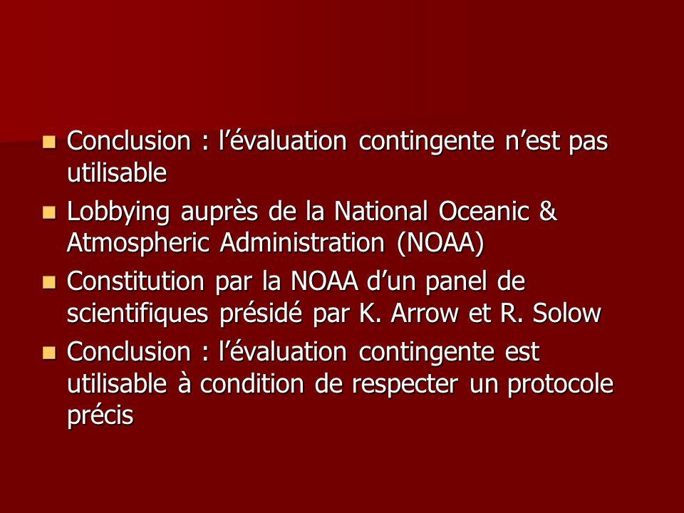 Conclusion : l'évaluation contingente n'est pas utilisable