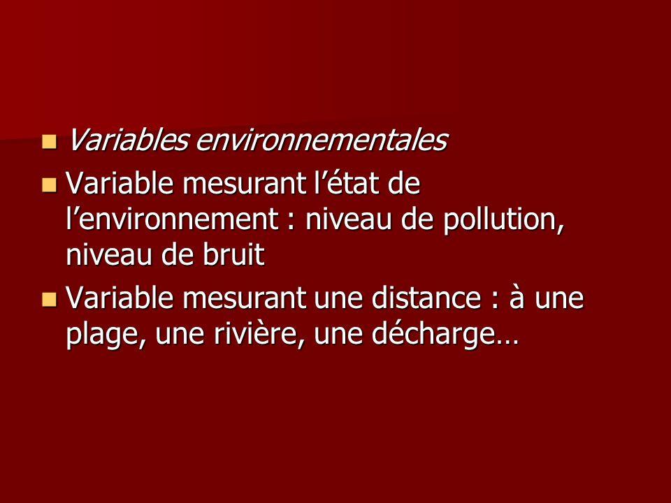 Variables environnementales