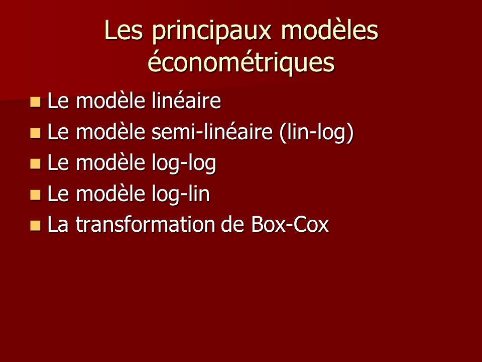 Les principaux modèles économétriques