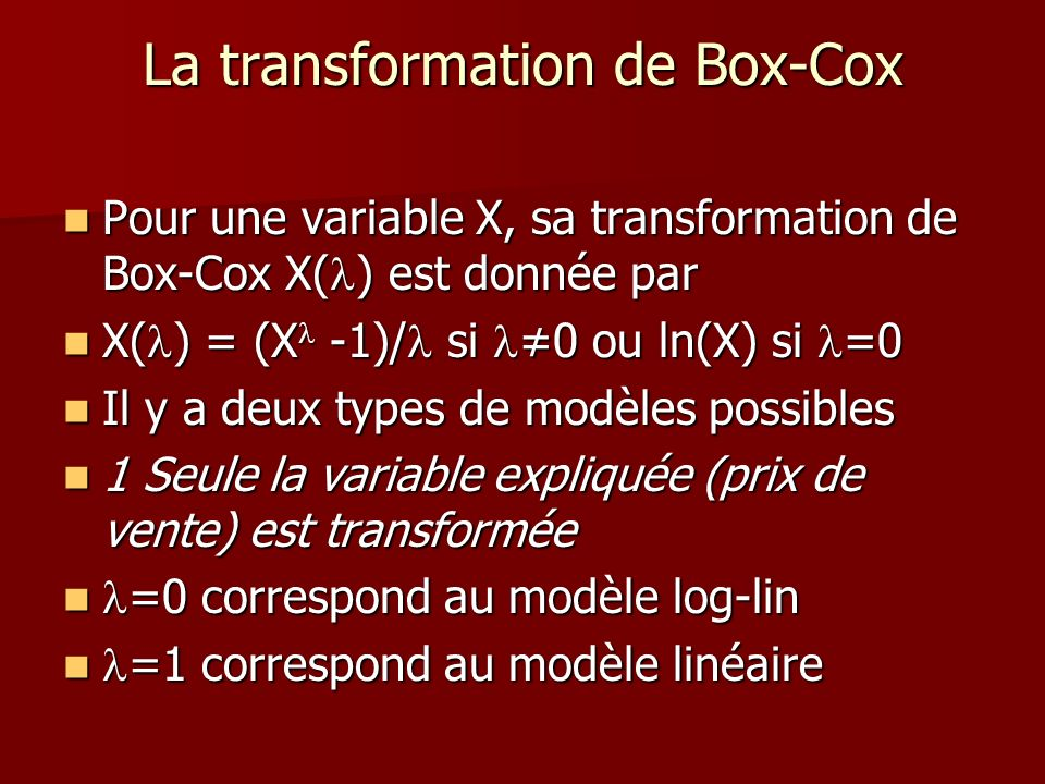La transformation de Box-Cox