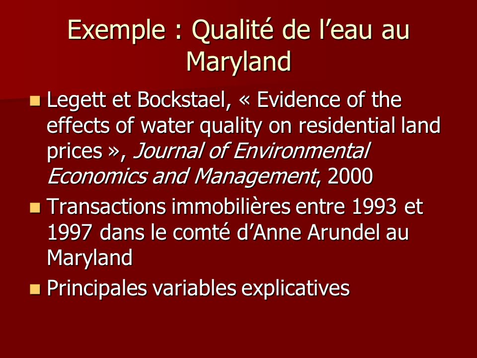 Exemple : Qualité de l'eau au Maryland