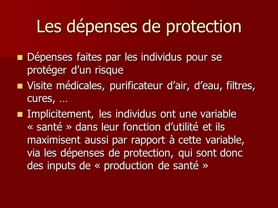 Les dépenses de protection