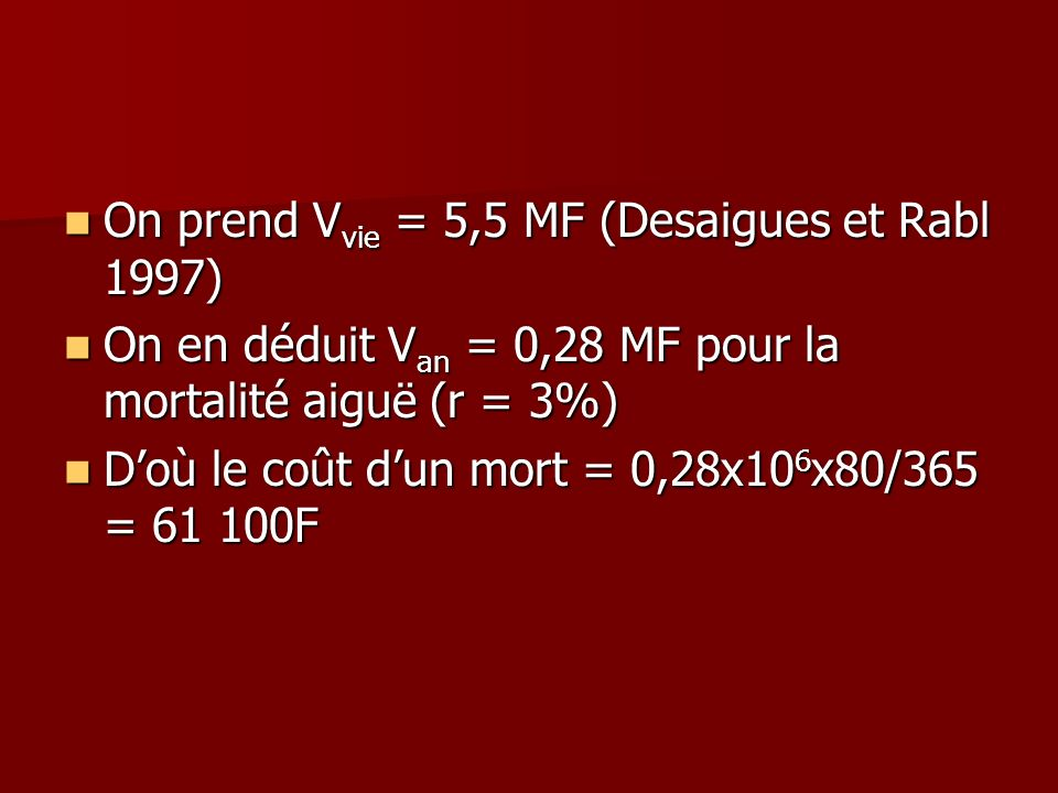 On prend Vvie = 5,5 MF (Desaigues et Rabl 1997)