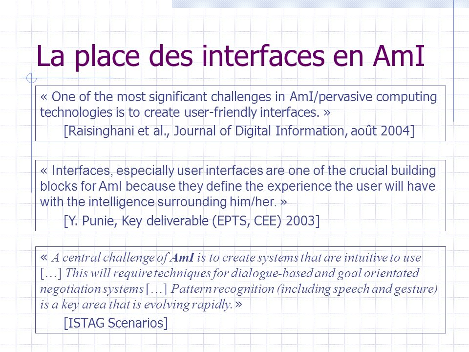La place des interfaces en AmI