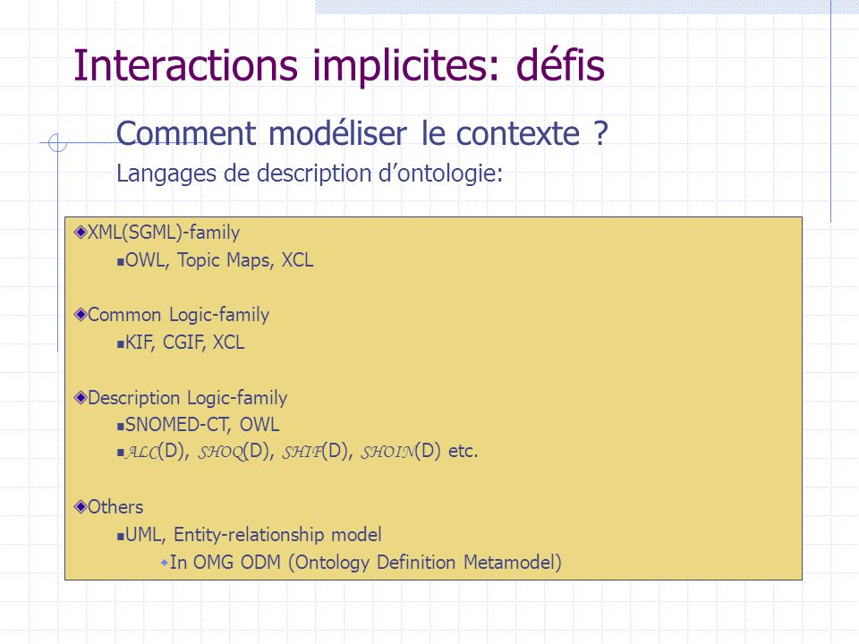Interactions implicites: défis