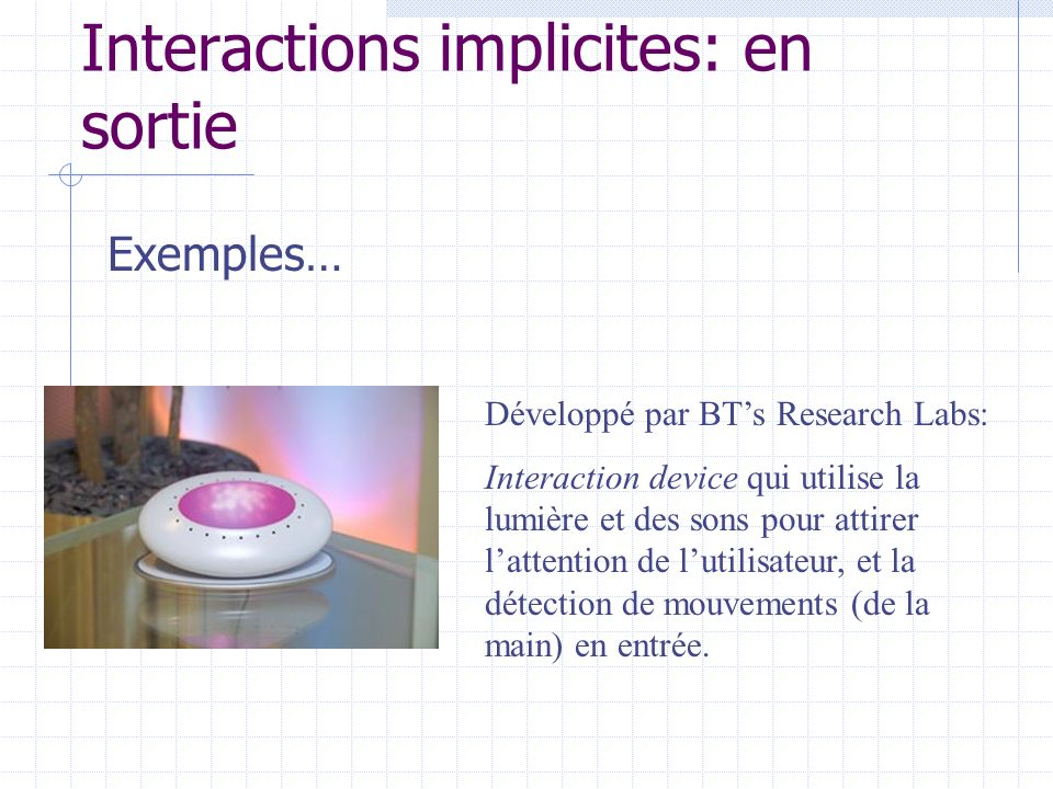 Interactions implicites: en sortie