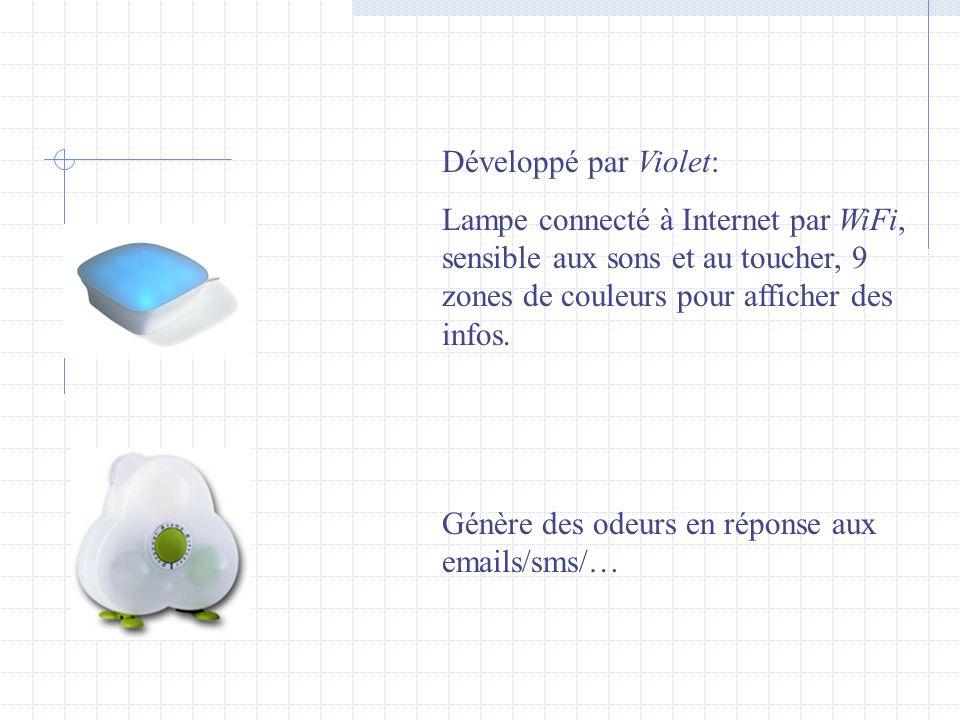 Développé par Violet: Lampe connecté à Internet par WiFi, sensible aux sons et au toucher, 9 zones de couleurs pour afficher des infos.
