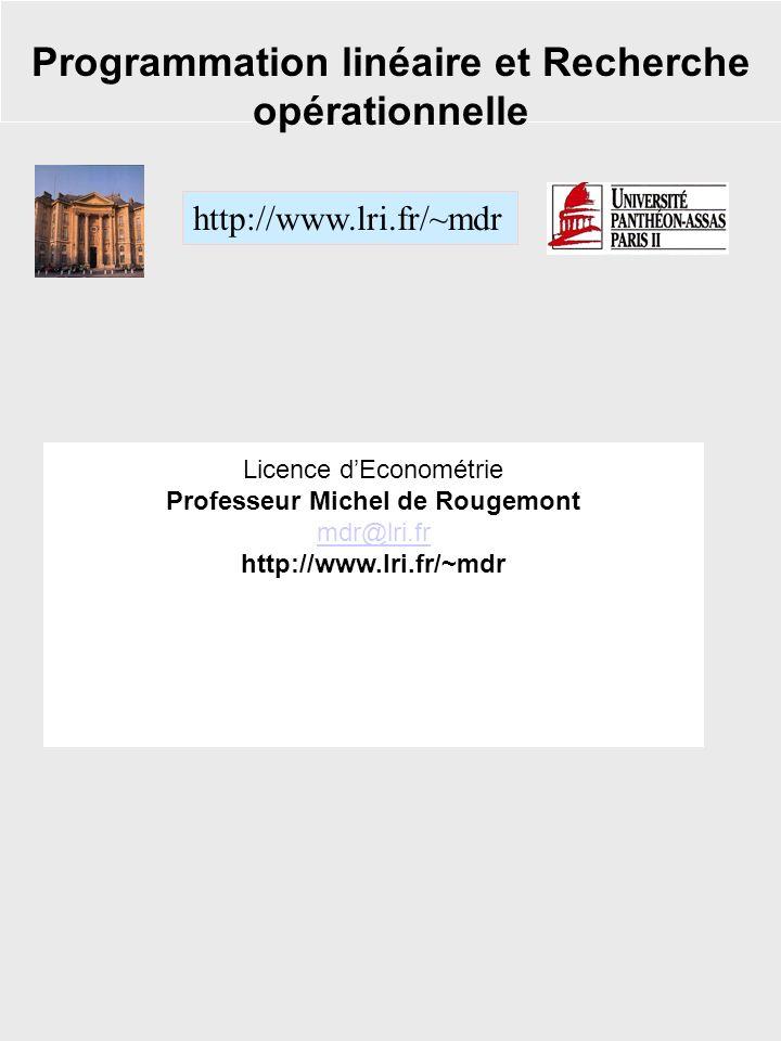 Programmation linéaire et Recherche opérationnelle