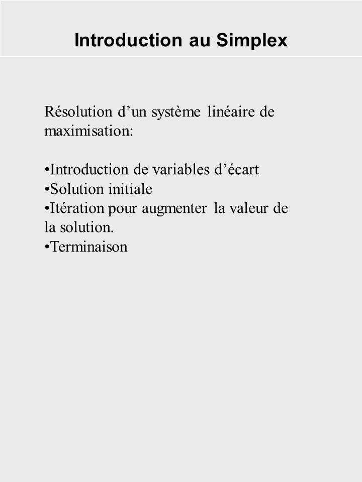 Introduction au Simplex