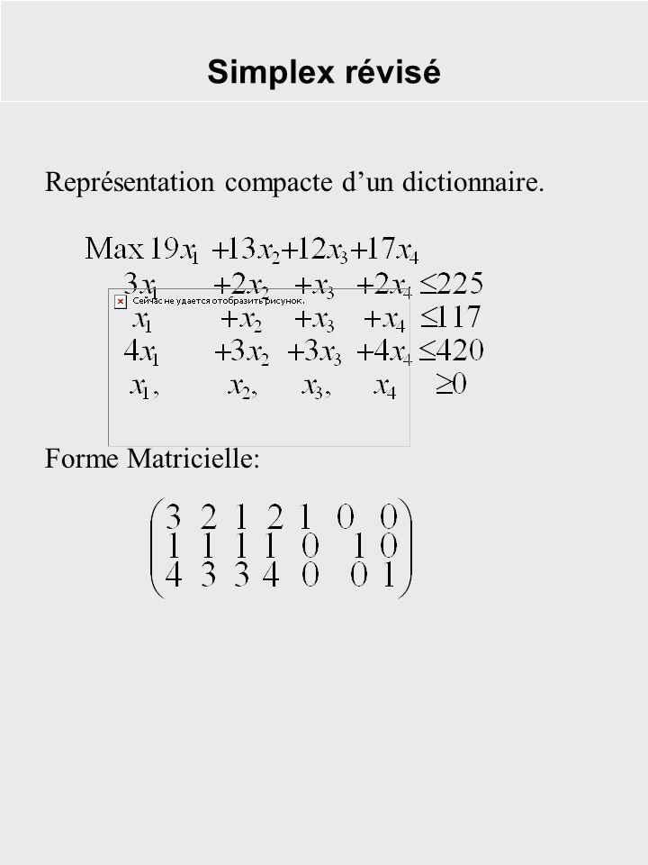 Simplex révisé Représentation compacte d'un dictionnaire.