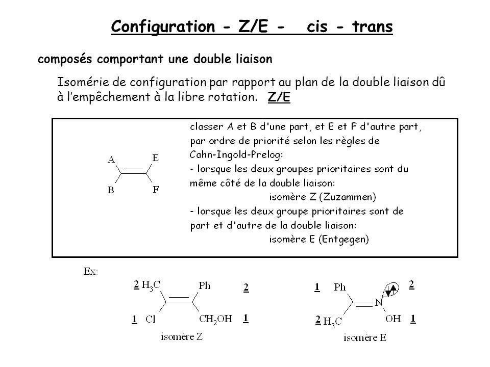 Configuration - Z/E - cis - trans