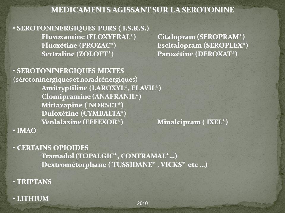 MEDICAMENTS AGISSANT SUR LA SEROTONINE