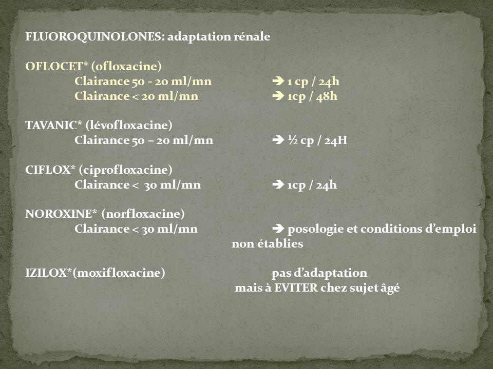 FLUOROQUINOLONES: adaptation rénale OFLOCET* (ofloxacine)