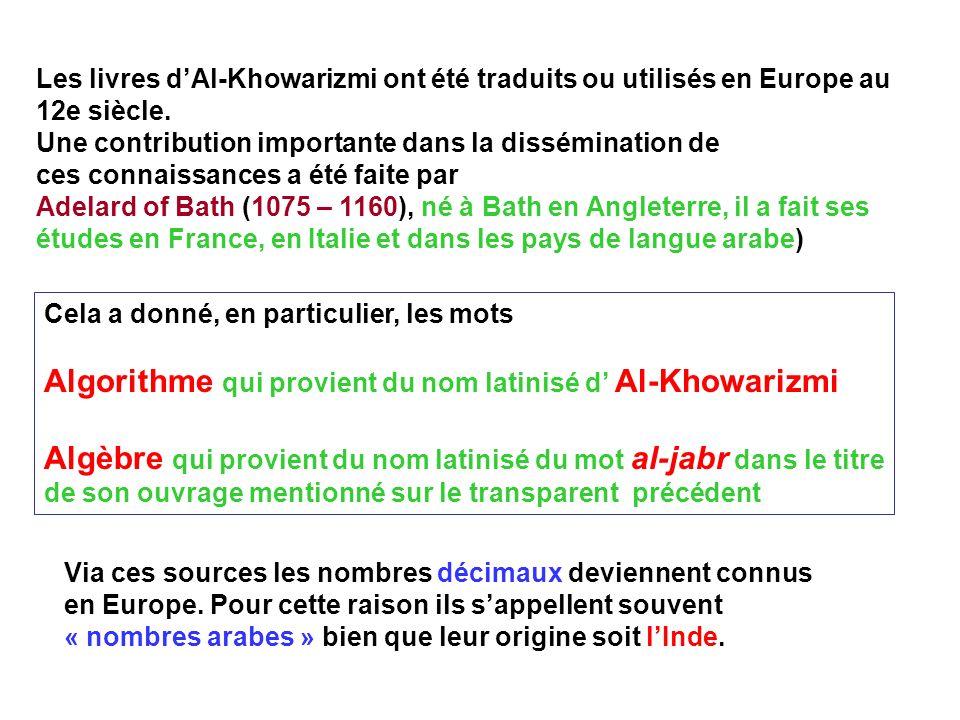 Algorithme qui provient du nom latinisé d' Al-Khowarizmi
