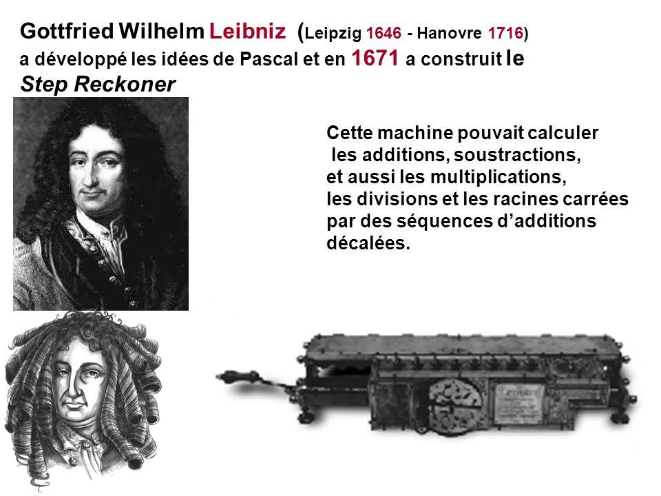 Gottfried Wilhelm Leibniz (Leipzig 1646 - Hanovre 1716) Step Reckoner